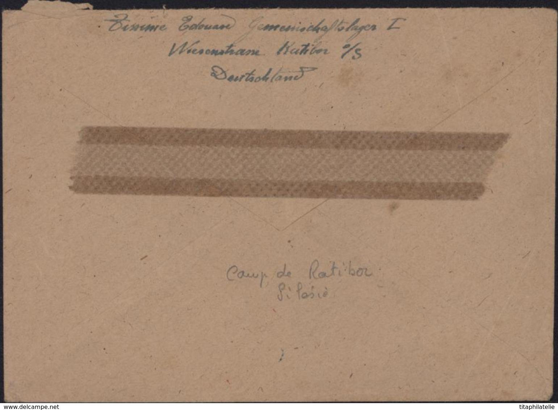 Racibórz Ratibor CAD 14 12 43 YT 717 Censure Corbeau Oberkommando Der Wehrmacht Dos Bande Gaufrée STO Guerre 40 - 1939-44: 2ème Guerre Mondiale