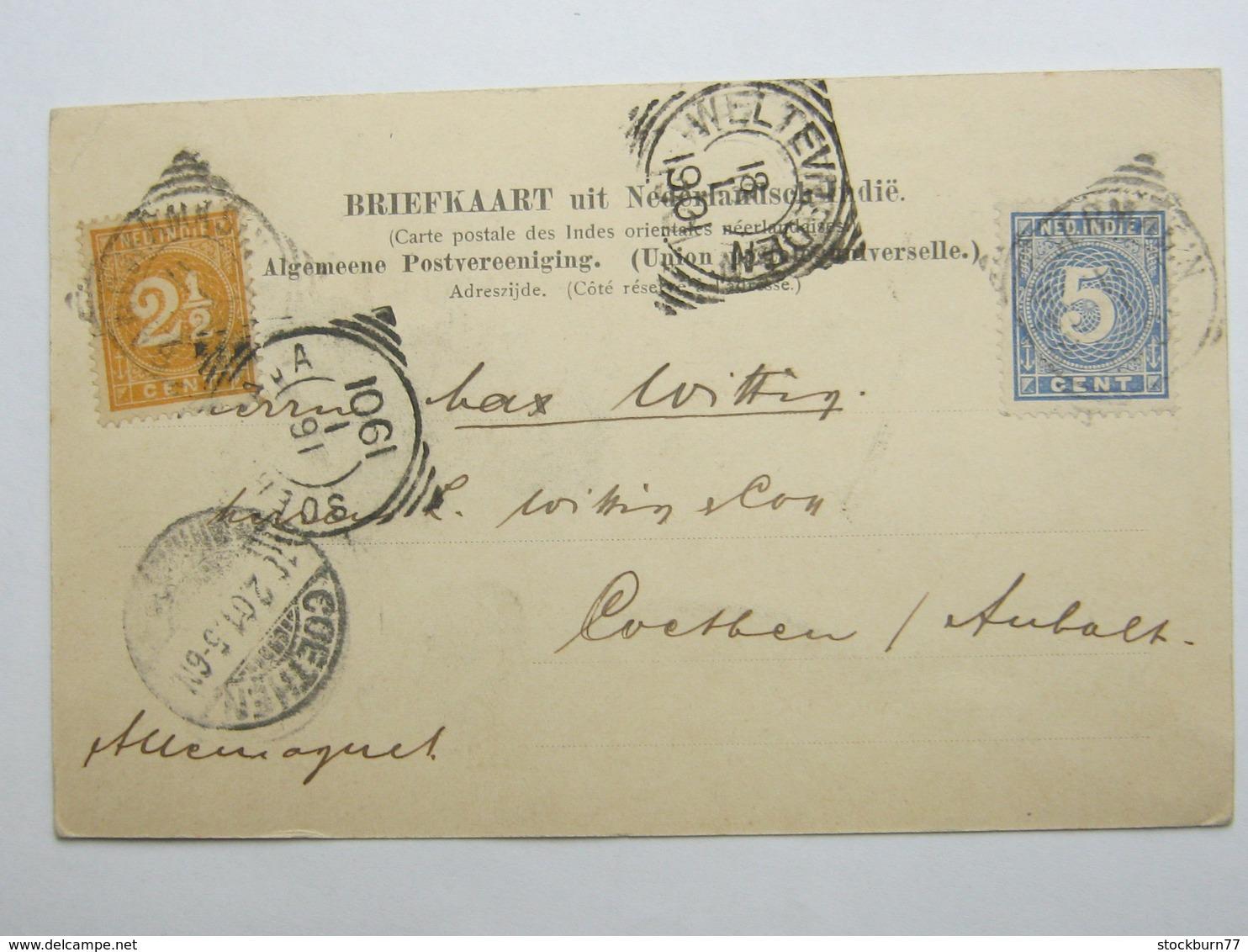 1901 , Briefkaart   A Duitsland - Nederlands-Indië