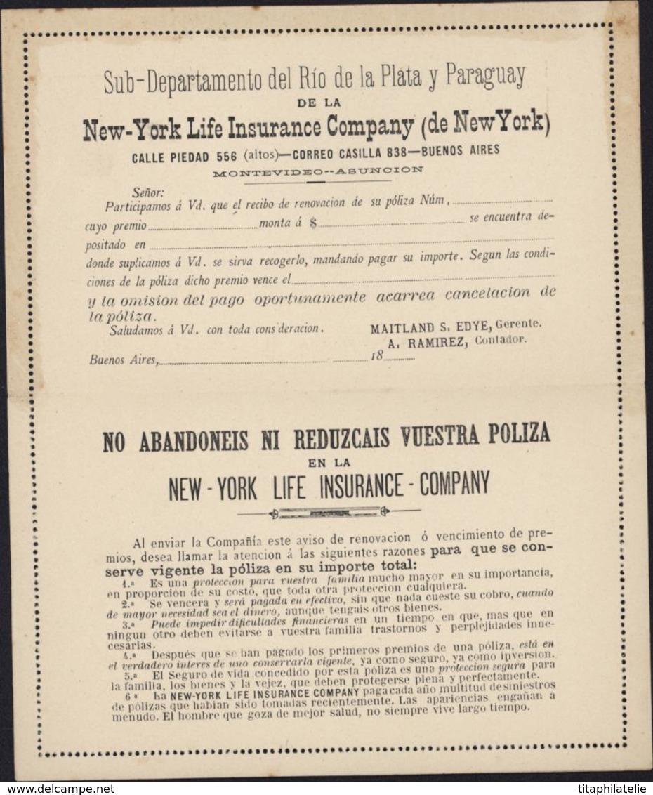 Entier Carte Lettre 2c Brun Juarez Celman Repiquage La Nueva York Buenos Aires Cie Assurance Vie New York - Ganzsachen