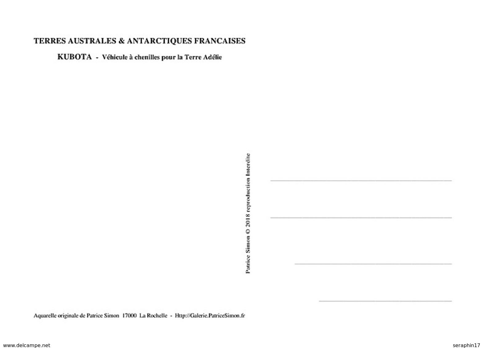 CP Inédite - Carte-Postale Neuve - Kubota - Véhicule Polaire Dumont D'Urville Terre Adélie - Aquarelle Originale - TAAF : Terres Australes Antarctiques Françaises