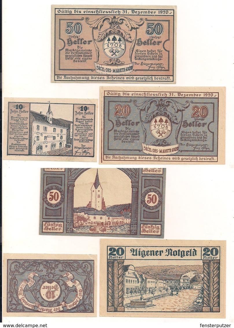 3 Notgeldscheine Aigen 10, 20 + 50 H - Kilowaar - Bankbiljetten