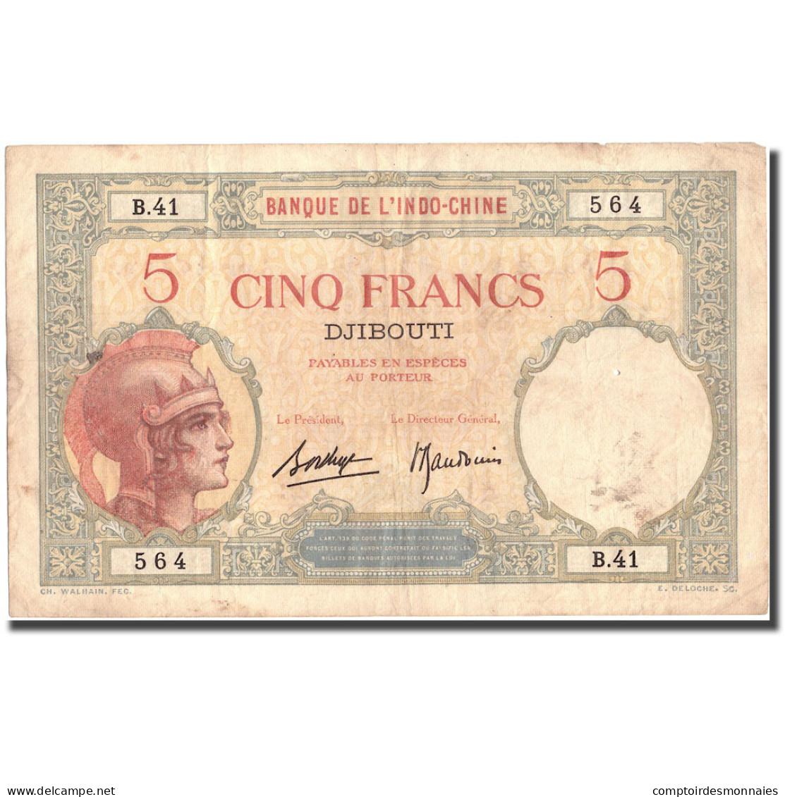 Billet, Côte Française Des Somalis, 5 Francs, Undated (1927), KM:6b, TTB - Indochine