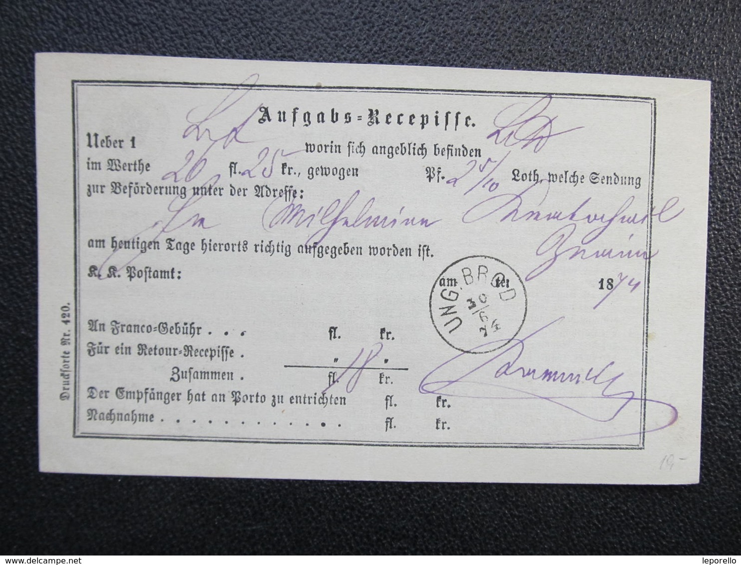 Aufgabs Recepisse Ung. Brod Uhersky Brod 1874 ///  D*36240 - 1850-1918 Imperium