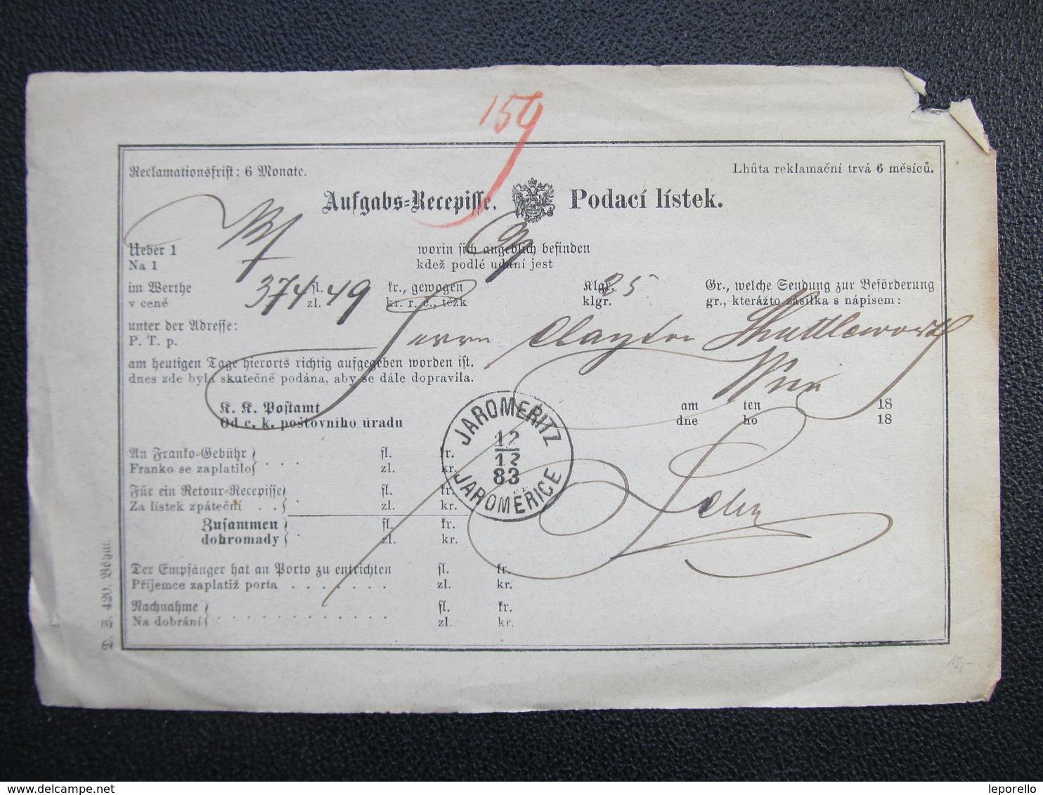 Aufgabs Recepisse Jaromeritz Jaromerice 1883 ///  D*36242 - 1850-1918 Imperium