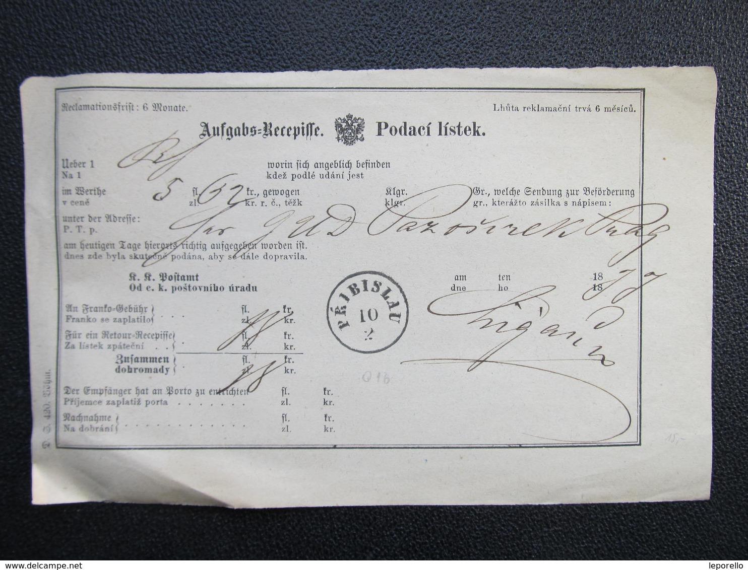 Aufgabs Recepisse Pribislau Pribyslav 1877 ///  D*36244 - 1850-1918 Imperium