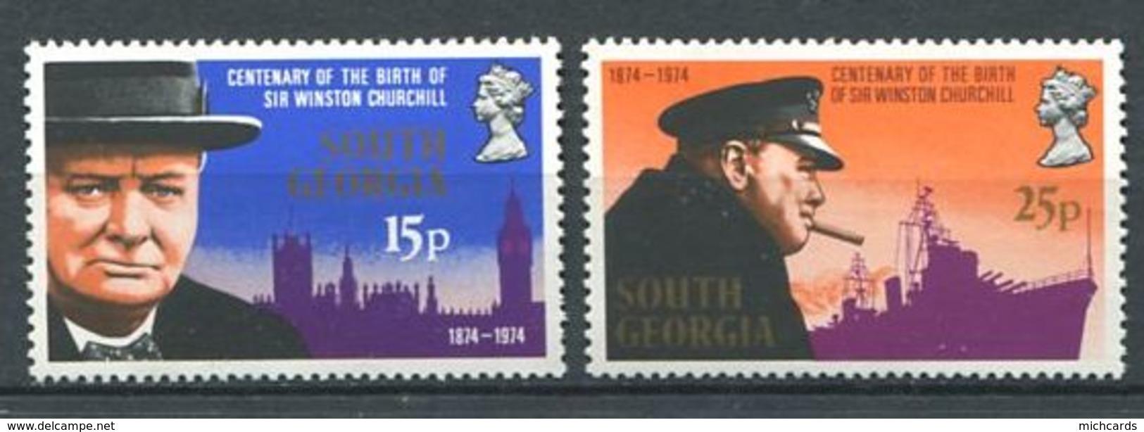 243 SUD GEORGIE 1974 - Yvert 47/48 - Churchill - Neuf **(MNH) Sans Charniere - Géorgie Du Sud