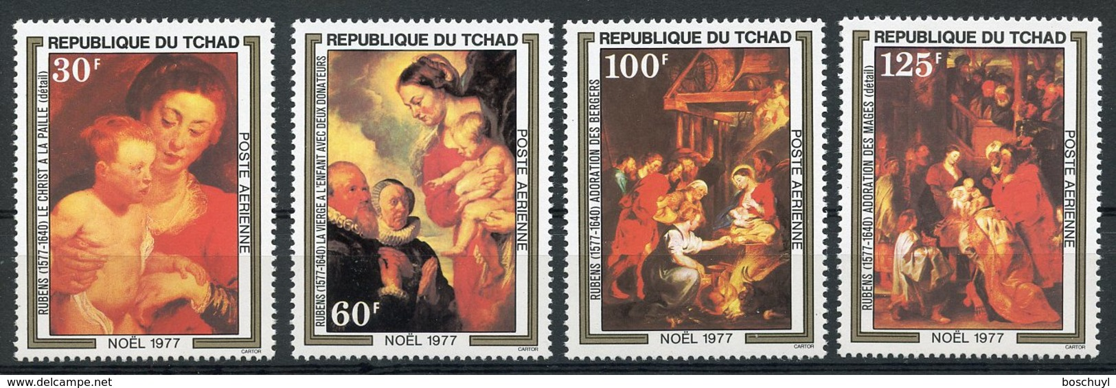 Chad, 1977, Christmas, Rubens Paintings, Peintures, MNH, Michel 817-820 - Chad (1960-...)
