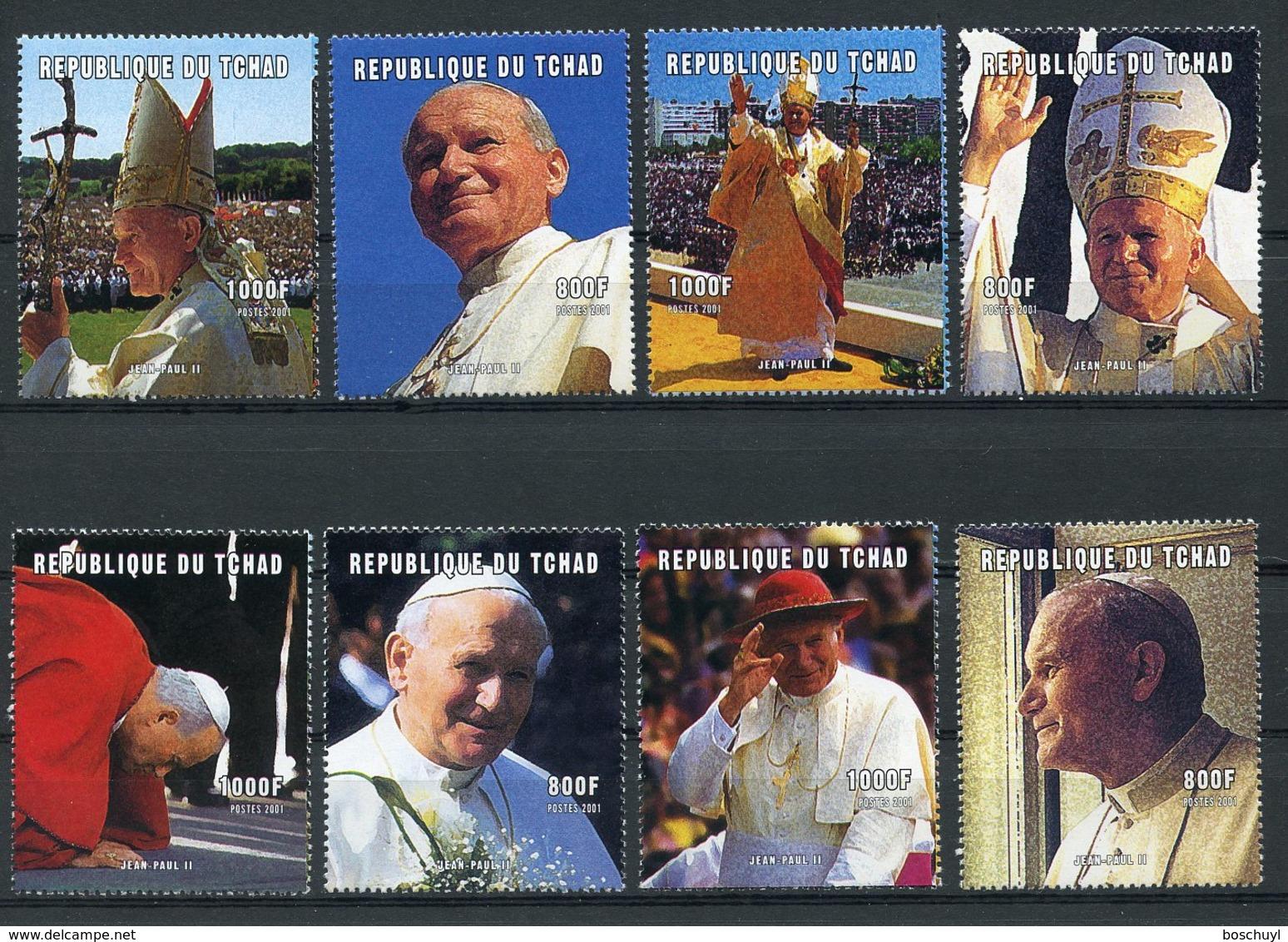 Chad, 2001, Pope John Paul, Catholicism, Religion, MNH, Michel 2244-2251A - Chad (1960-...)
