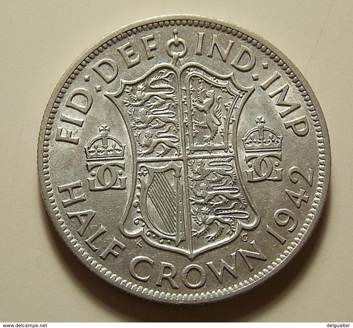 Great Britain 1/2 Crown 1942 Silver - 1902-1971: Postviktorianische Münzen