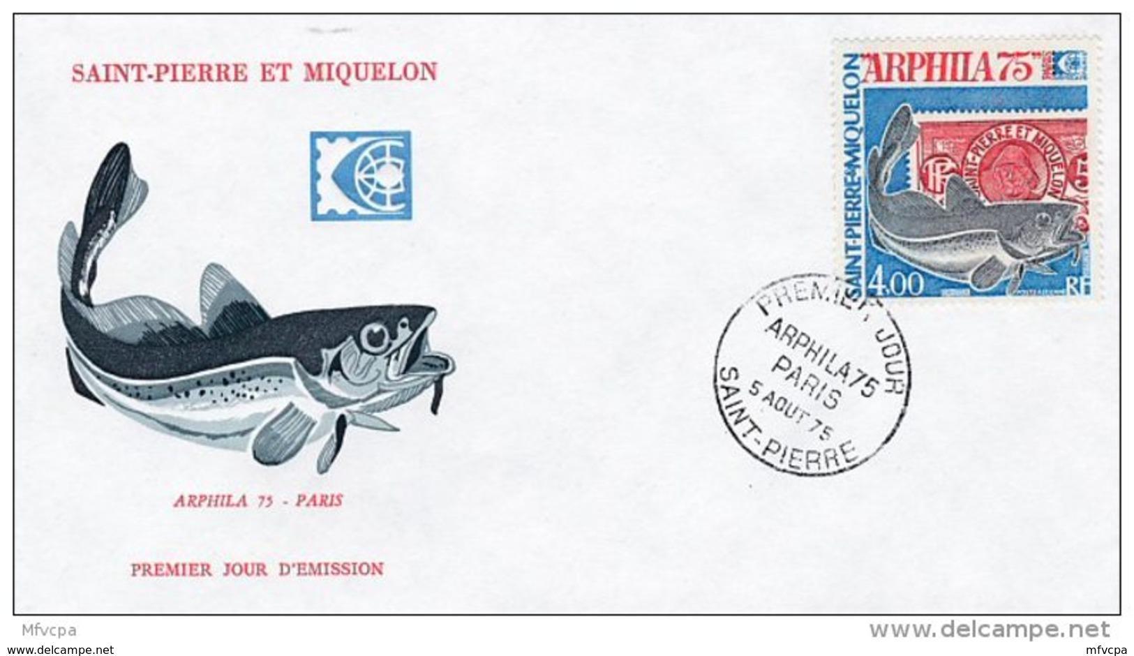 L4N191 SAINT-PIERRE ET MIQUELON 1975 FDC Arphila 75 4,00f  Saint-Pierre 05 08 1975 / Envel.  Illus. - FDC