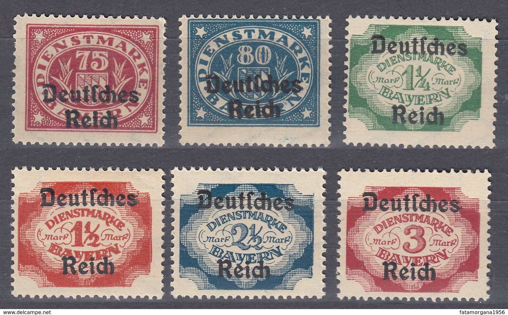BAVIERA - BAYERN -  1920 - Lotto 6 Valori Nuovi MNH, Yvert Servizio 70, 71, 74, 75, 76 E 77. - Bavaria