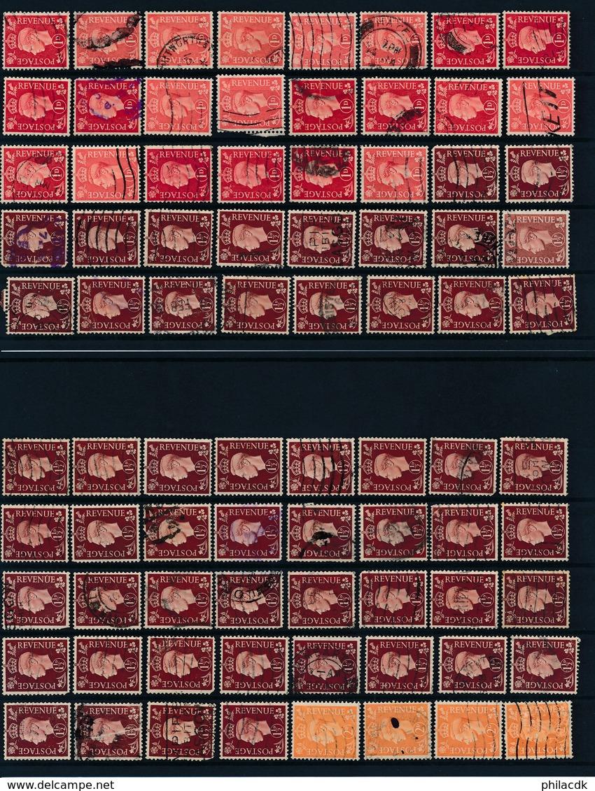 GRANDE BRETAGNE - COLLECTION DE 1480 TIMBRES OBLITERES AVEC CACHETS LONDON+PERFORES A ETUDIER TRES FORTE COTE - Grande-Bretagne