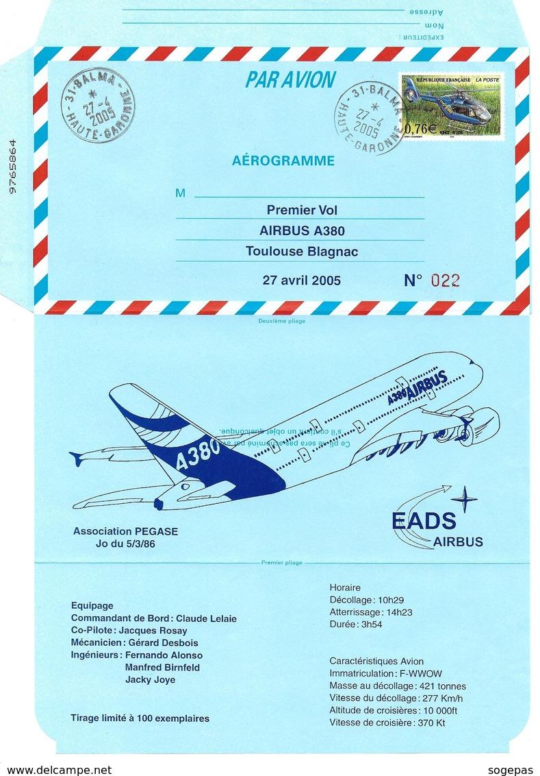 FRANCE 2005 AEROGRAMME PREMIER VOL AIRBUS A380 TOULOUSE BLAGNAC 27 04 2005  N° 022 / 100 - Aerogrammi