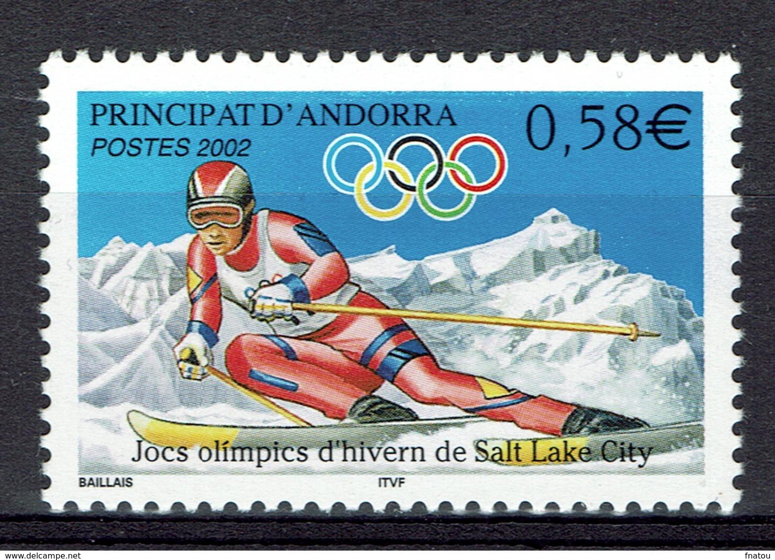 Andorra (French Adm.), Winter Olympics, Salt Lake City (USA), 2002, MNH VF - French Andorra