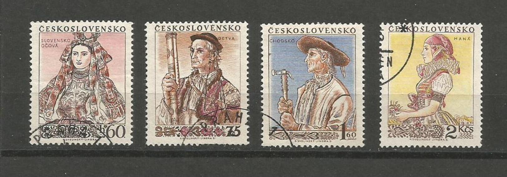 CZECHOSLOVAKIA 1955 NATIONAL COSTUMES COMPLETE SET - USED - Tsjechoslowakije