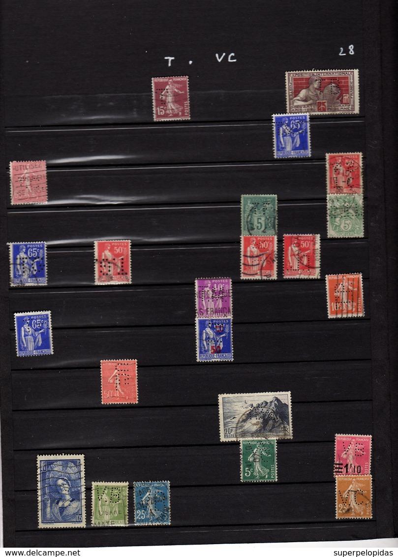 Très Belle Collection De 870 Timbres Perforés Tous Identifiés Et En Bel état  30 Pages De Classeur - France