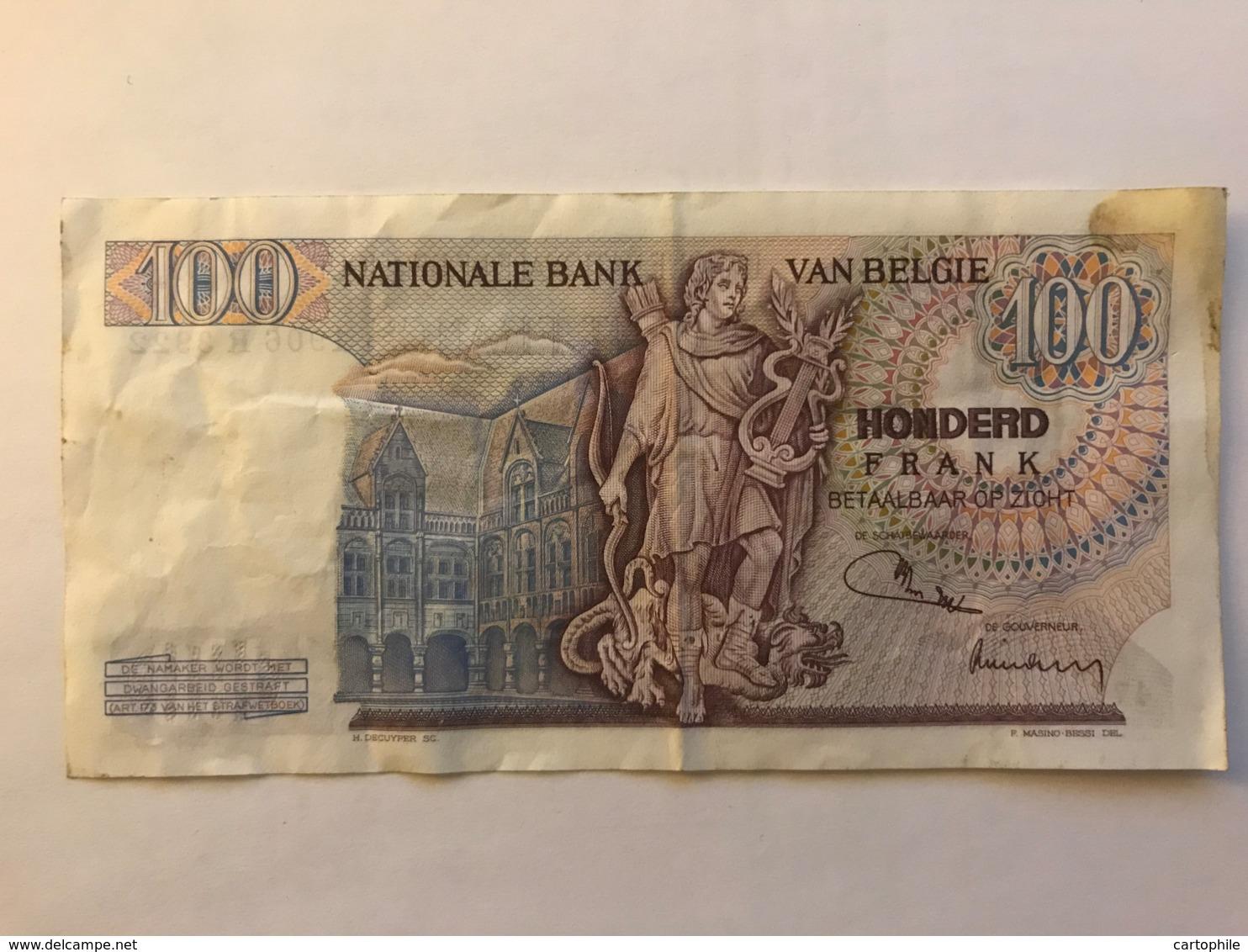 Billet De 100 Francs De 1972 - [ 2] 1831-... : Belgian Kingdom