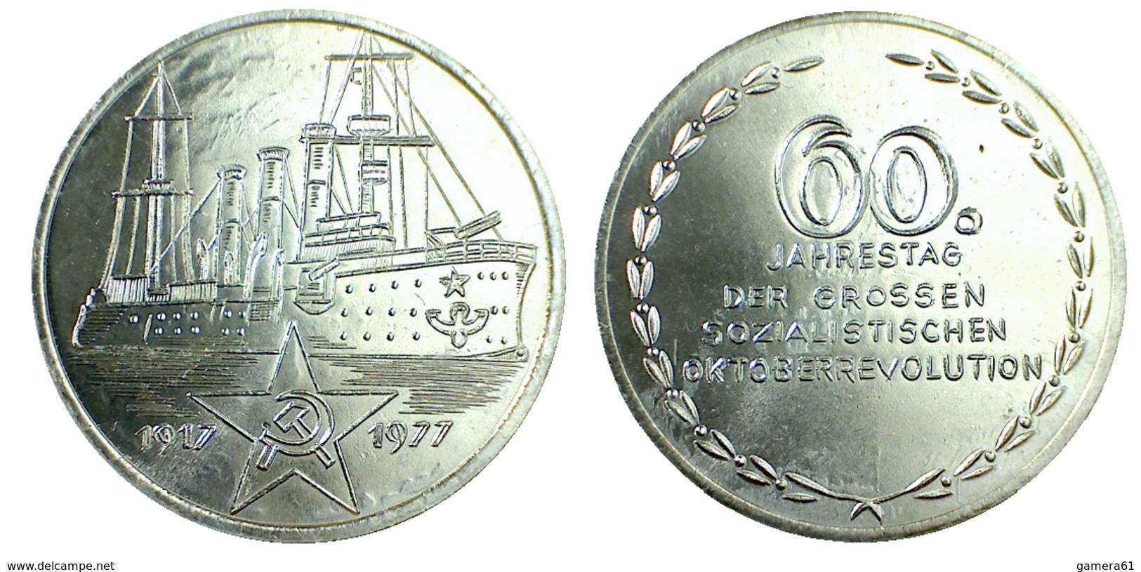 02889 MEDAGLIA MEDAL 60 JAHRESTAG DER GROSSE SOZIALKISTICHEN OKTOBER REVOLUTION 1917/1977 - Allemagne
