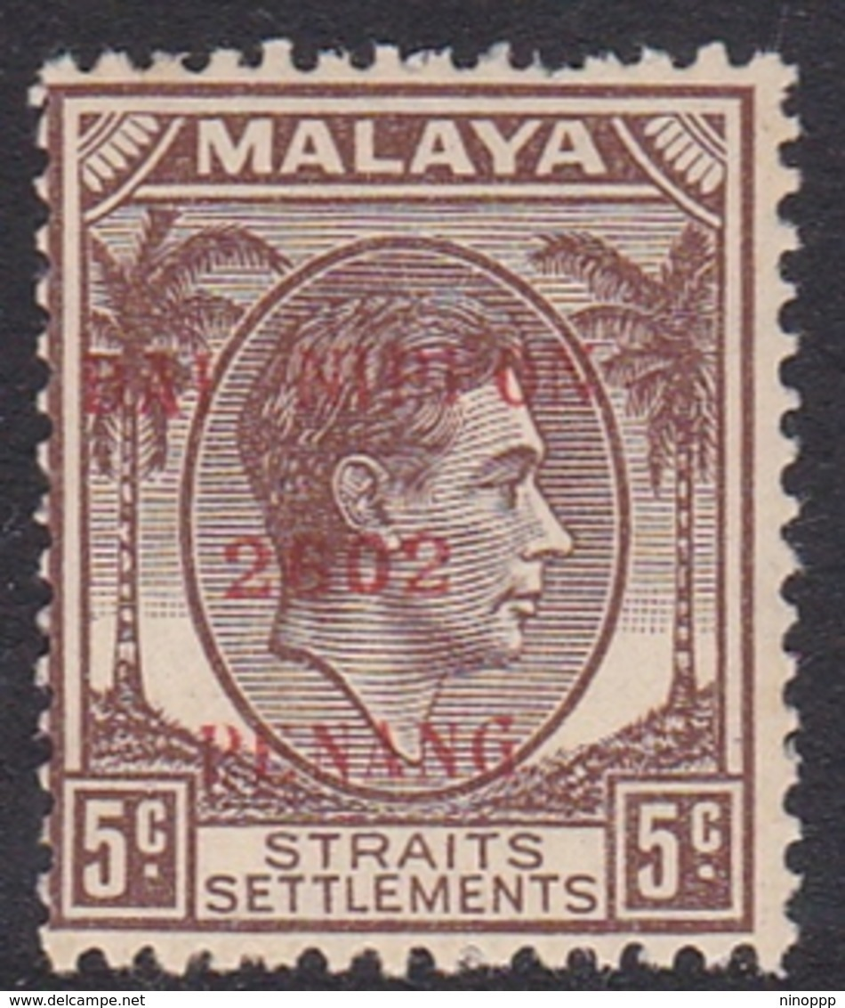 Malaya-Penang Japan Occupation N 4 1942 5c Brown, Mint Never Hinged - Ocupacion Japonesa