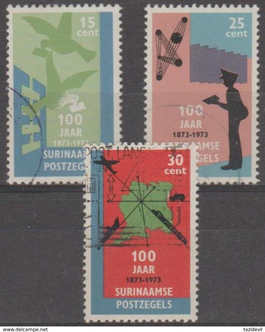 SURINAM - 1973 Stamp Centenary. Scott 408-410. Used - Surinam ... - 1975