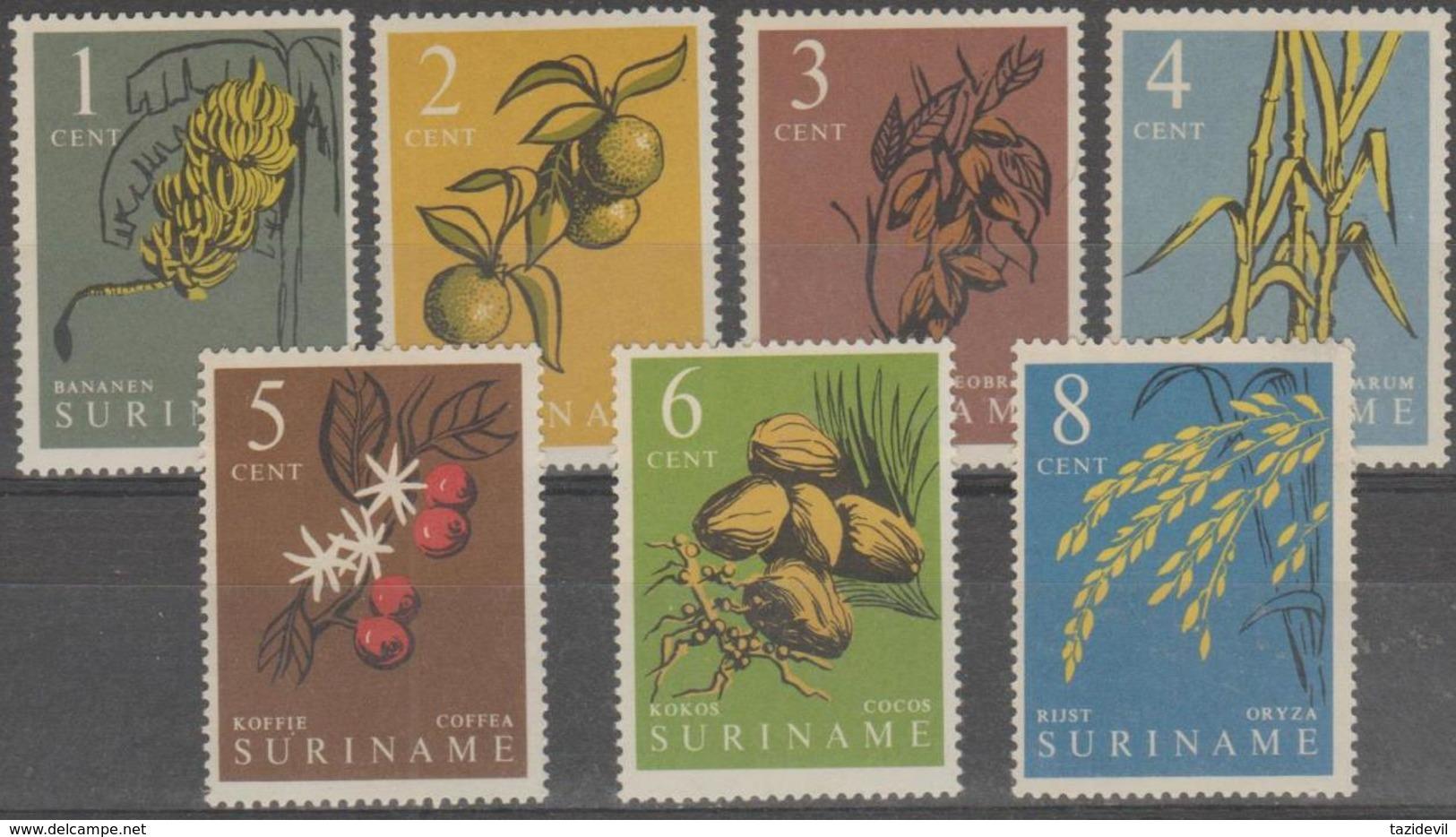 SURINAM - 1961 Fruits. Scott 284-290. MNH ** - Surinam ... - 1975