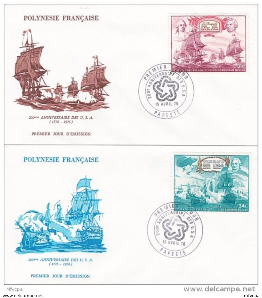 L4O165 POLYNESIE FRANCAISE 1976 FDC 200ème Anniversaire Des USA 24f, 31f Papeete 15 04 1976 / 2 Envel.  Illus. - FDC