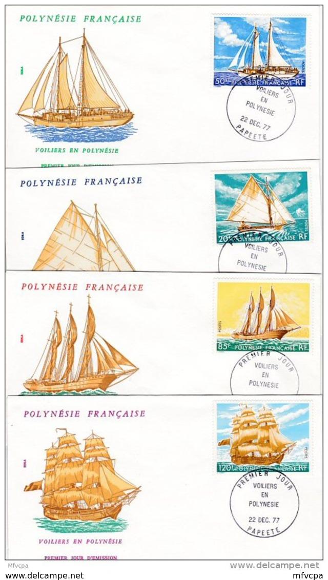 L4O182 POLYNESIE FRANCAISE 1977 Bateaux FDC Voiliers 20, 50, 85, 120f Papeete 22 12  1977 / 4 Envel.  Illus. - FDC