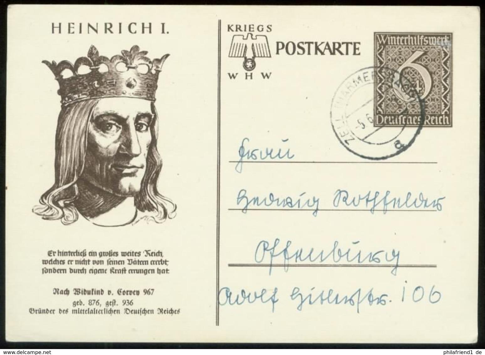 WW II GS Postkarte WHW: Bild Heinrich I ,gebraucht Zell Harmersbach - Offenburg 1940 , Bedarfserhaltung. - Deutschland