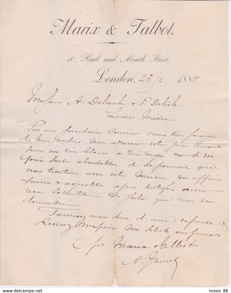 ANGLETERRE 1885 - LETTRE ENTETE LONDON - MARIX & TALBOT - Royaume-Uni