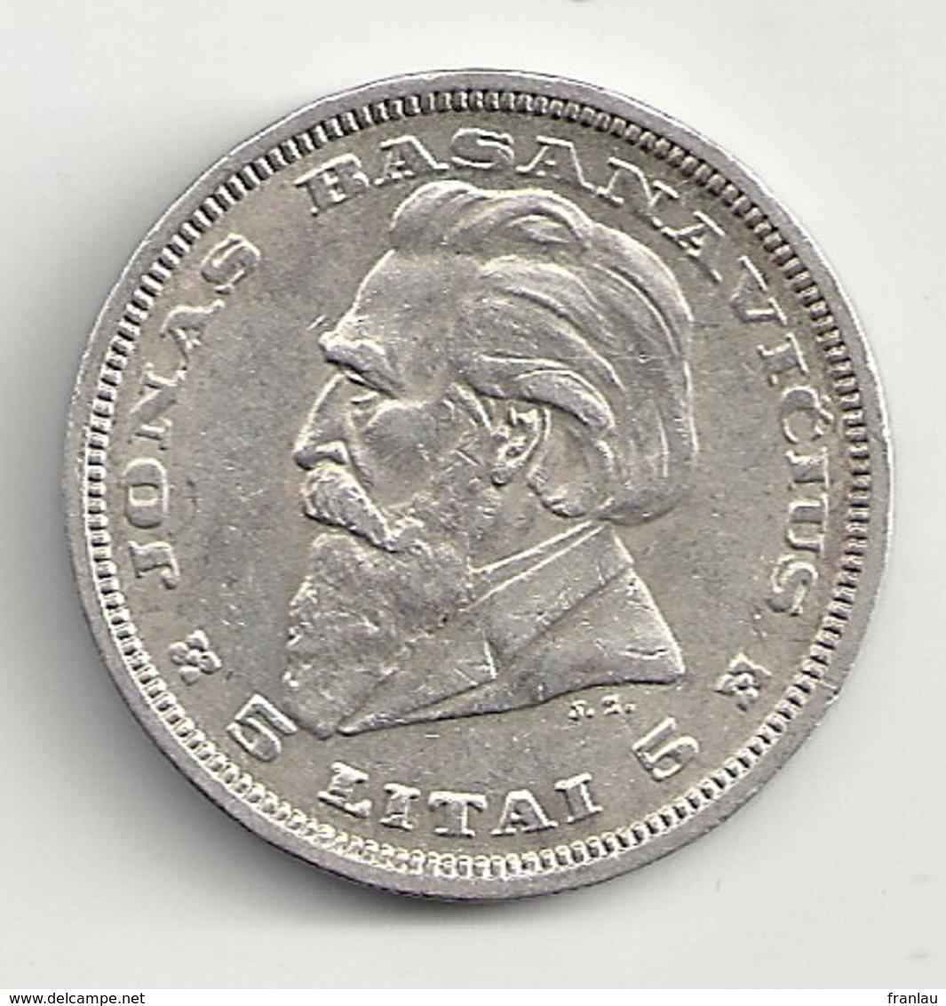 Lituanie 5 Litai 1936  Argent Silver - Lithuania