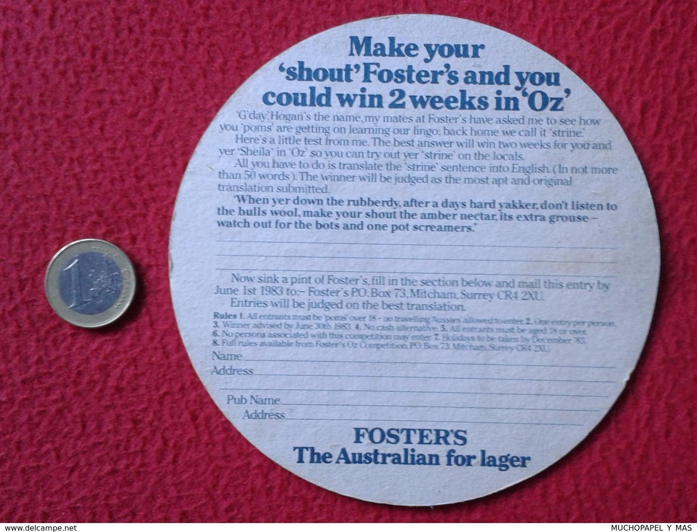 POSAVASOS RARE COASTER MAT O SIMILAR AUSTRALIA ? PAUL HOGAN ? OZ FOSTER'S THE AUSTRALIAN FOR LAGER BEER CERVEZA BIER VER - Portavasos