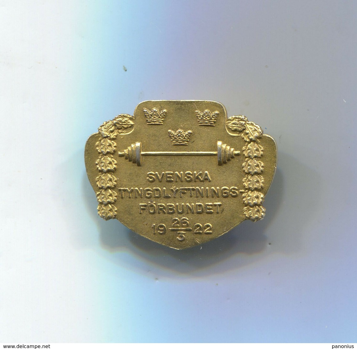 VINTAGE WEIGHTLIFTING FEDERATION SWEDEN 1922 SILVER & GILT PIN BADGE ORIGINAL!!! - Weightlifting