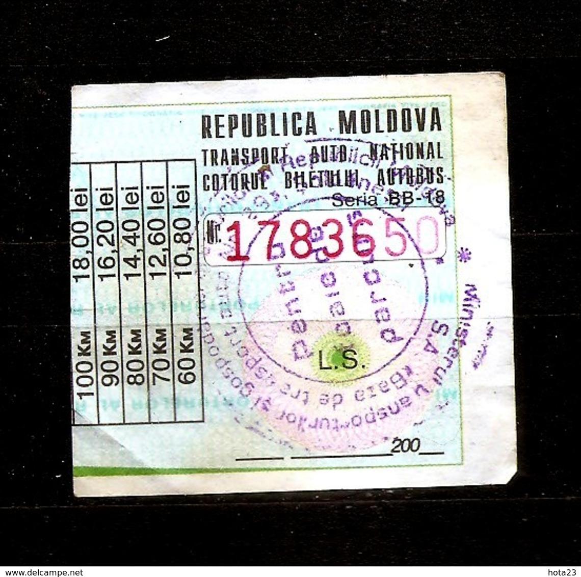 EX Russia MOLDOVA ~~ 2000 YEARS  CAR TRAVEL TAX  18 LEY - Titres De Transport
