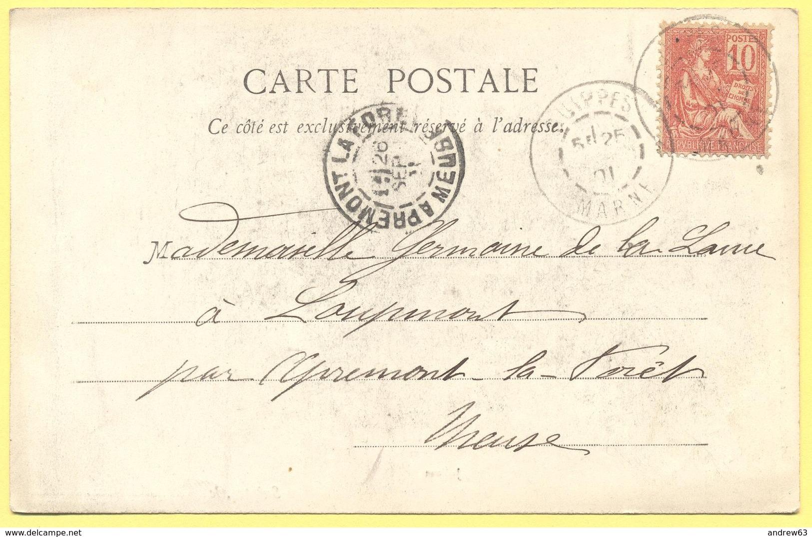FRANCIA - France - 1901 - 10c Mouchon - 54 Meurthe Et Moselle - Jolivet - Viaggiata Da Suippes Per Apremont-la-Forêt - 1900-02 Mouchon