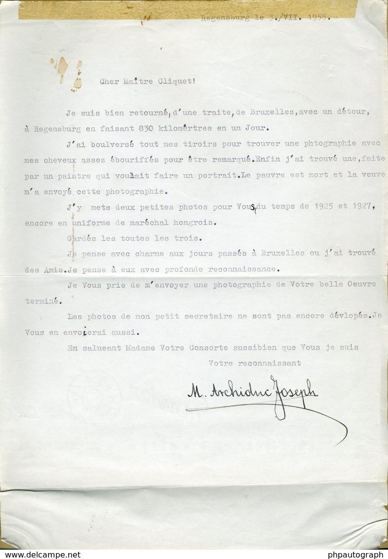 Archiduc Joseph D'Autriche (1872-1962) - Rare Lettre Signée (1955) - Autographe - Autographes