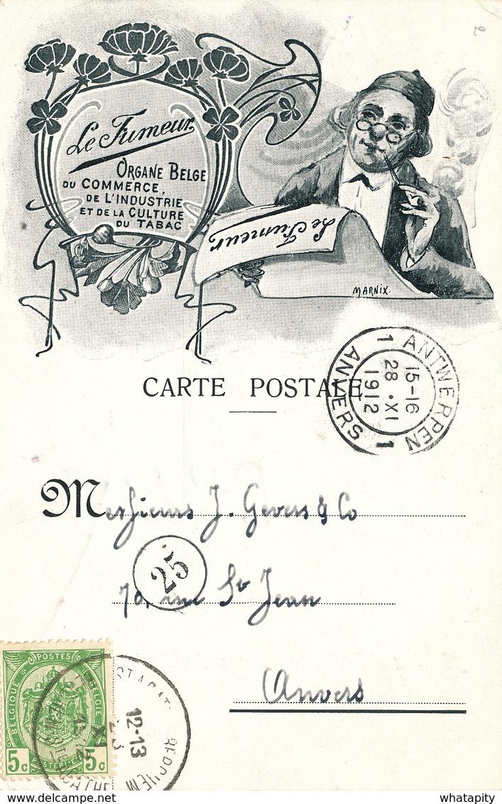 """BELGIQUE TABAC - RARE Carte Illustrée """" Le Fumeur """" Organe Belge Du Tabac TP Armoiries BERCHEM STE AGATHE 1912 - Landbouw"""