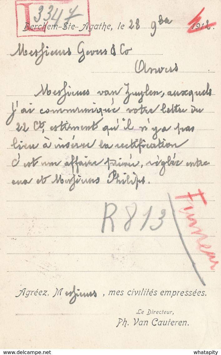 """BELGIQUE TABAC - RARE Carte Illustrée """" Le Fumeur """" Organe Belge Du Tabac TP Armoiries BERCHEM STE AGATHE 1912 - Agriculture"""