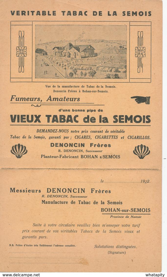 401/28 -- BELGIQUE TABAC - IMPRIME Illustré + Carte-Réponse  Tabac De La Semois , Denoncin à BOHAN 1922 - Agriculture