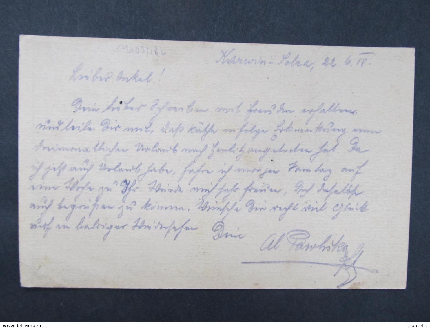 GANZSACHE Karwin Karvina 1918 Korrepospondenzkarte ///  D*36359 - 1850-1918 Imperium