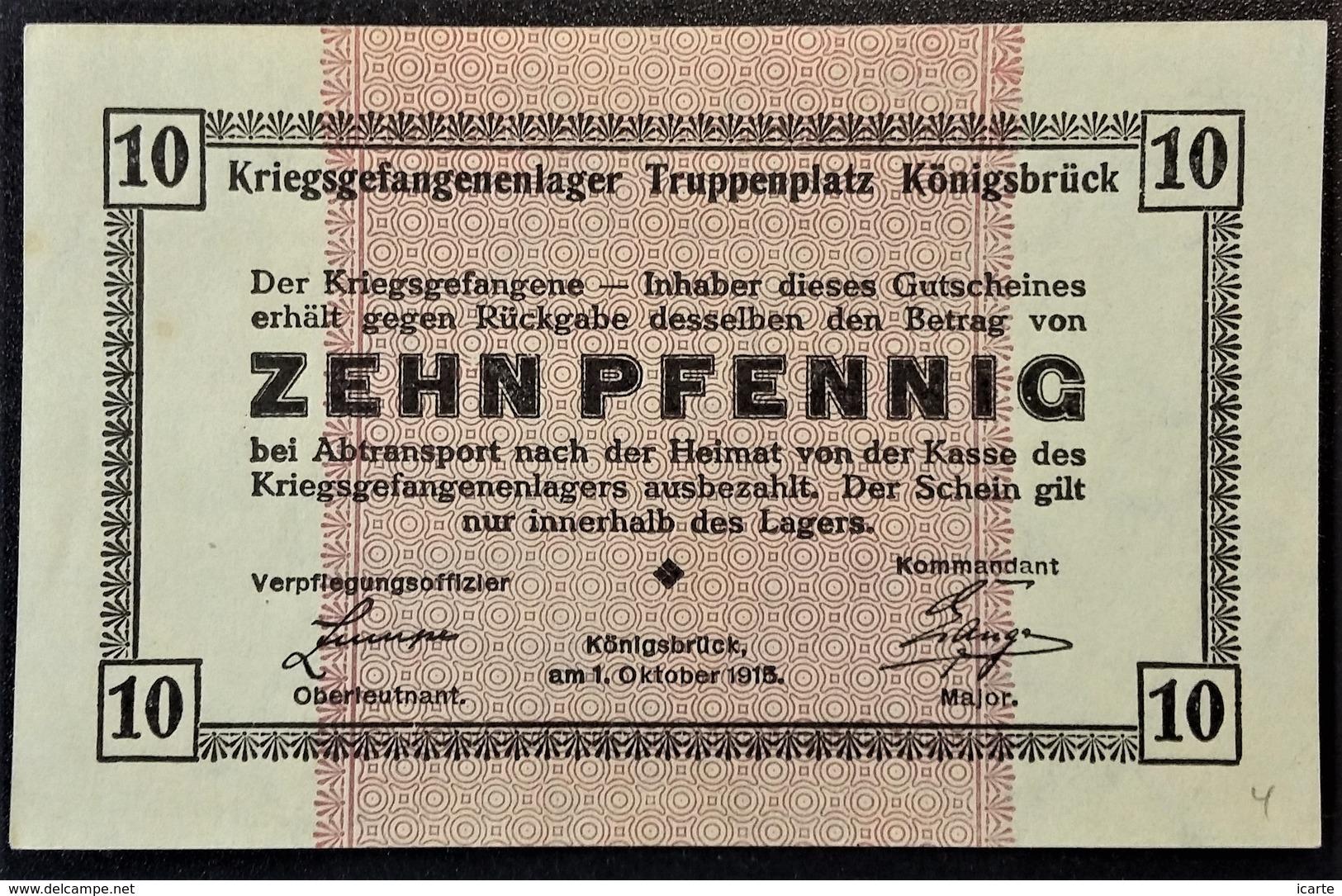 Billet 10 Pfennig LAGERGELD MONNAIE DE CAMP PRISONNIER DE GUERRE Kriegsgefangenenlager KÖNIGSBRÜCK - [10] Emissions Militaires