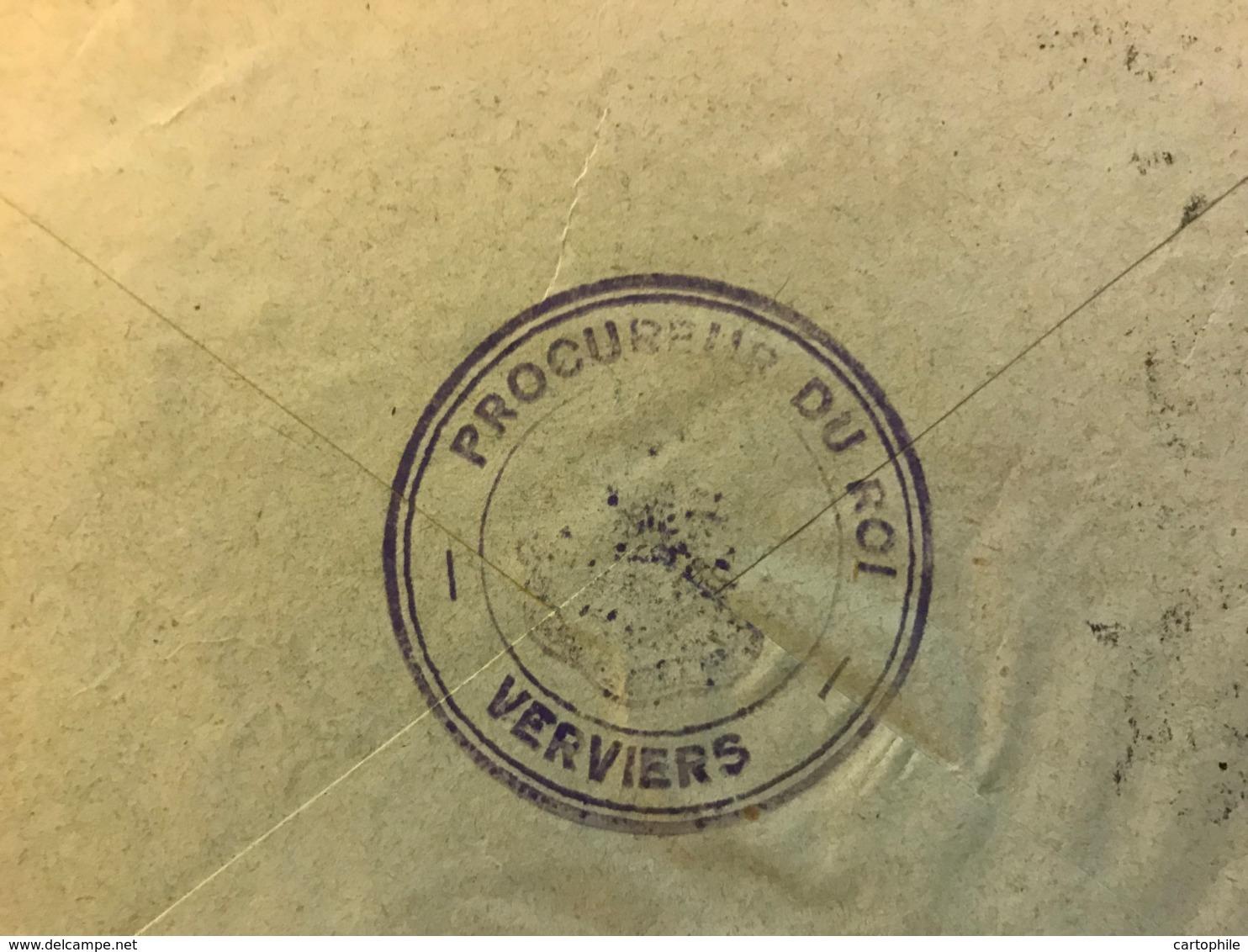Enveloppe Du Ministere De La Justice à En-tête Du Parquet Du Procureur Du Roi à Verviers Avec Cachet Au Dos - Belgique
