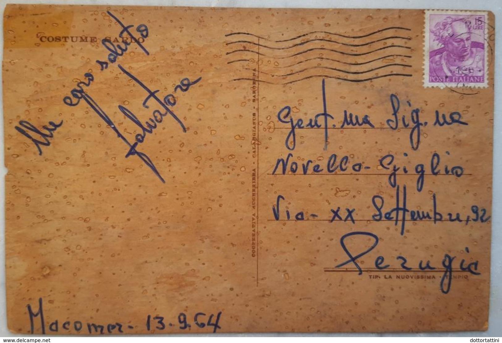 Sardegna - Costumi Sardi - Cartolina In Sughero - Postcard In Cork - Carte En Liege - Costumes - ITALY Vg 1964 - Cartoline