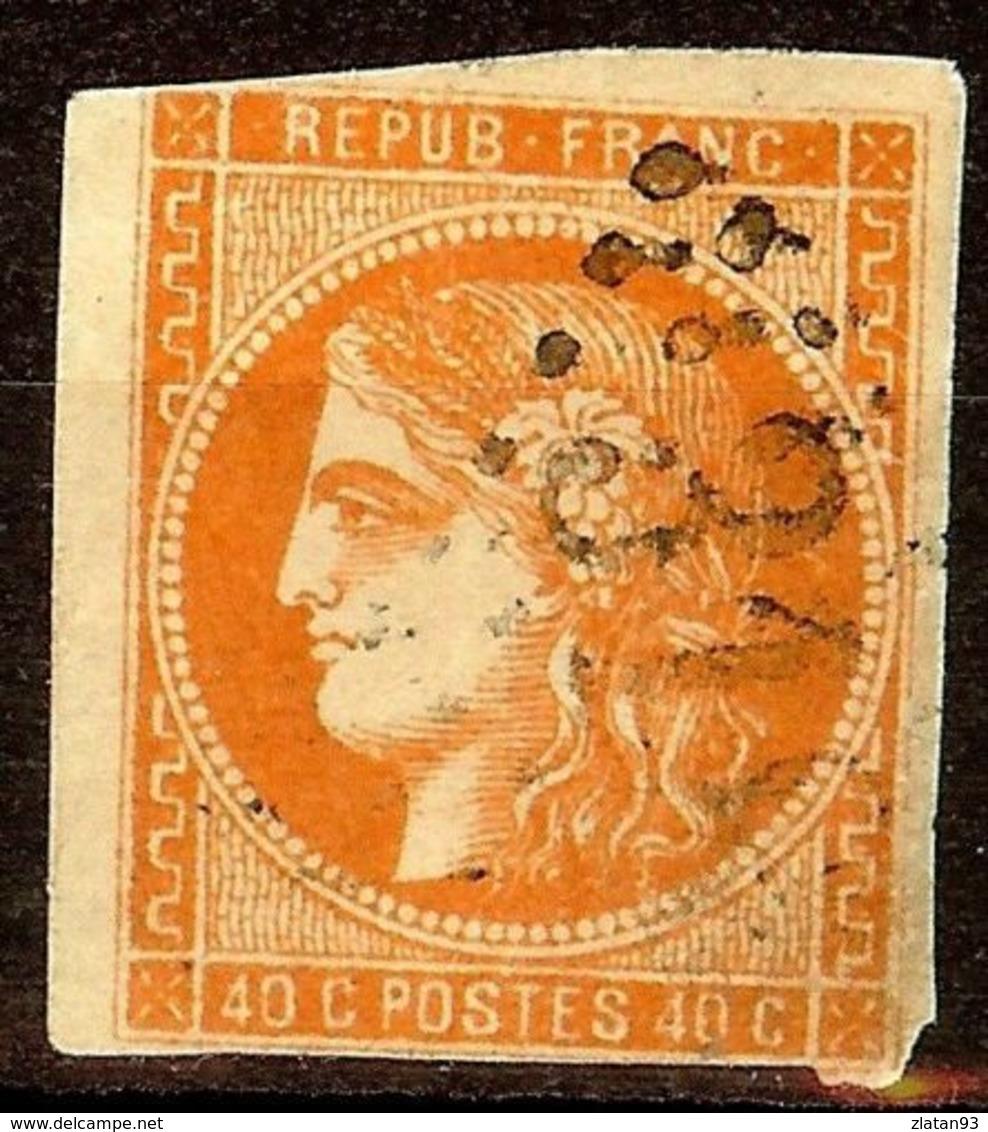 EXTRA BORDEAUX N°48a 80c Orange Vif Oblitéré Losange GC Cote 250€ PAS D'AMINCI - 1870 Emisión De Bordeaux
