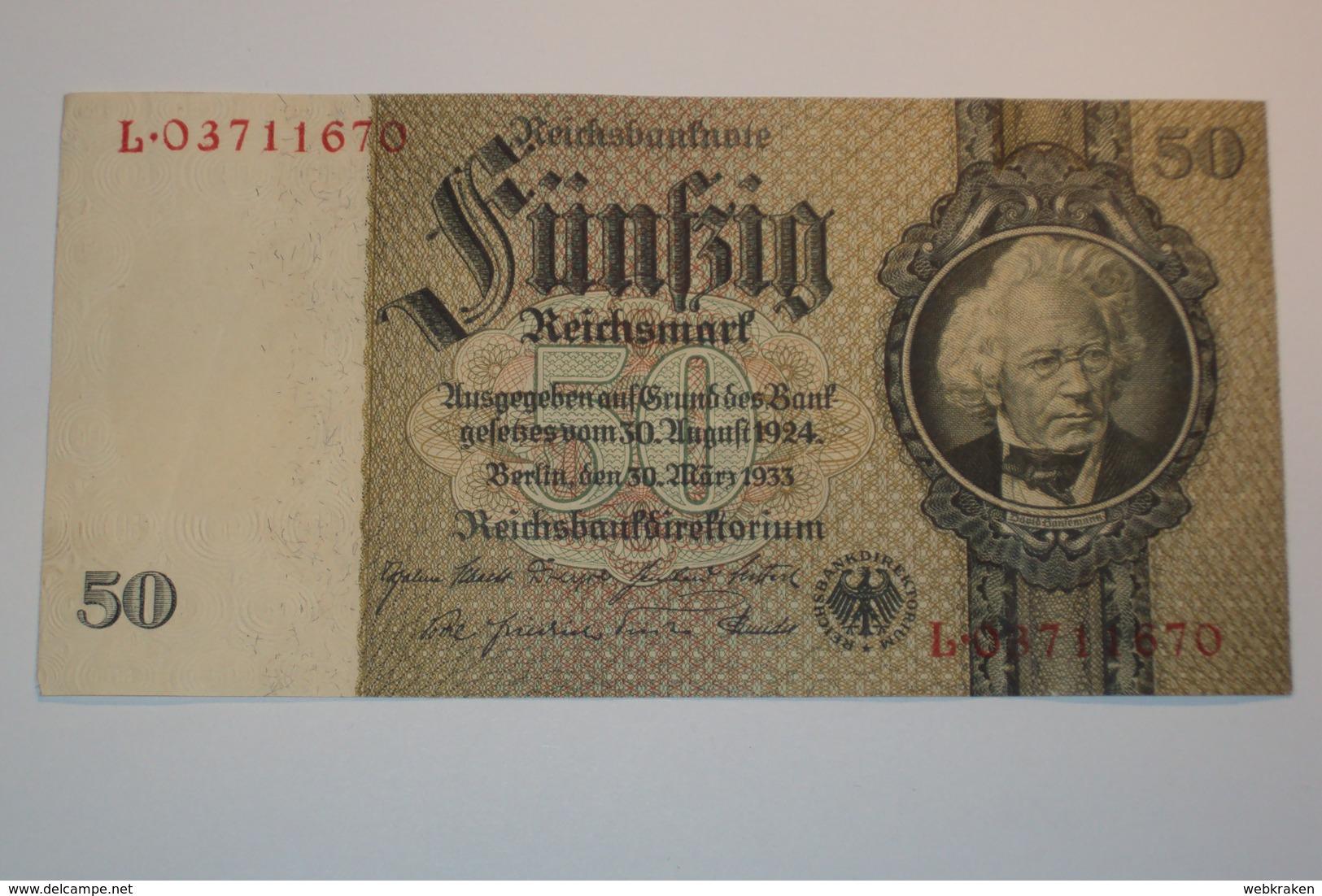 GERMANIA GERMANY BANCONOTA DA 50 MARCHI DEL 1933 REICHSMARK PERFETTA MOLTO BELLA - 50 Reichsmark