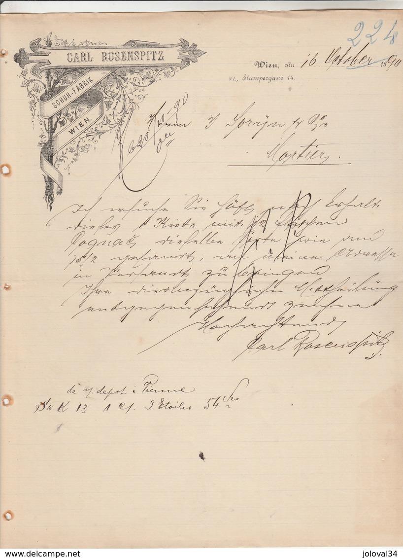 Autriche Facture Lettre Illustrée 16/10/1894 CARL ROSENSPITZ Schuh Fabrik WIEN - Autriche