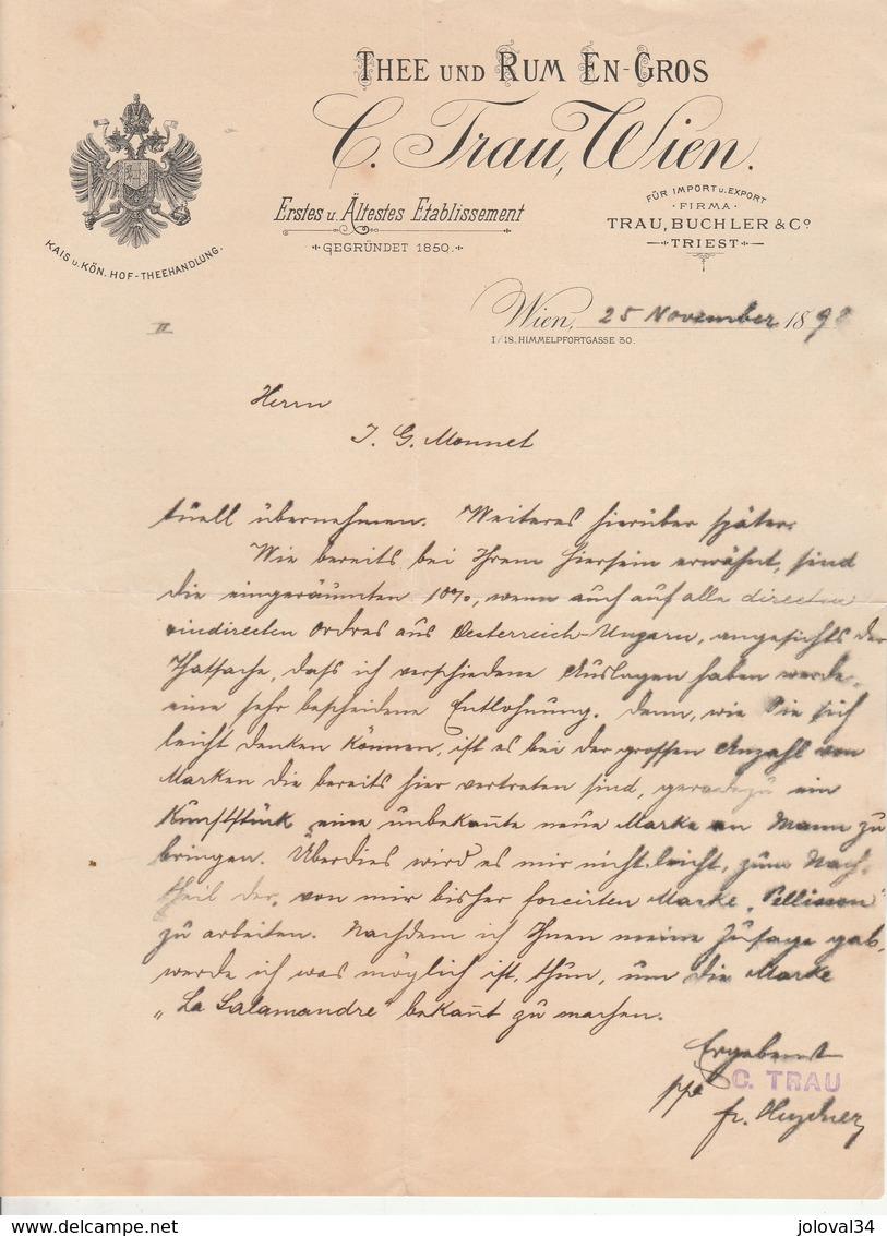 Autriche Facture Lettre Illustrée 25/11/1892  C TRAU Thee Und Rum En Gros  WIEN - Autriche