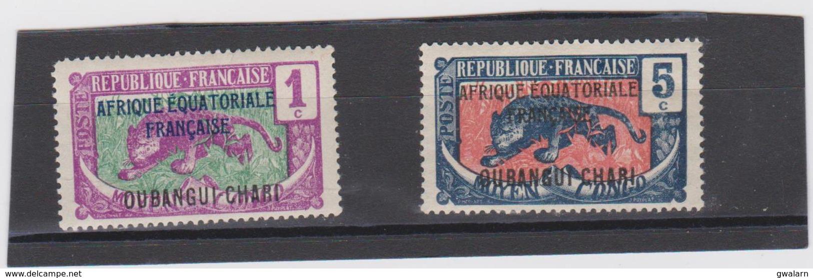 OUBANGUI CHARI AFRIQUE EQUATORIALE 2 T Neufs X N° YT 43 46 -année 1924 - Oubangui (1915-1936)
