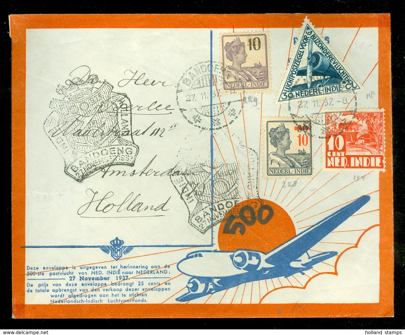 NED-INDIE * LUCHTPOST 500 Ste POSTVLUCHT  BRIEFOMSLAG Uit 1937 Gelopen Van BANDOENG Naar AMSTERDAM  (11.506c) - Nederlands-Indië