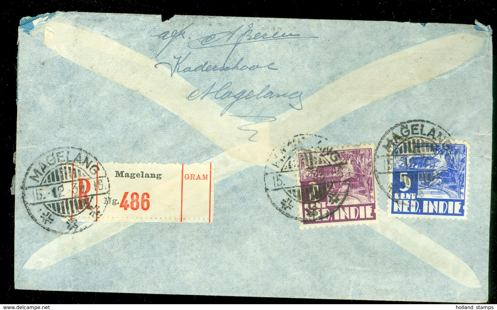 AANGETEKENDE LUCHTPOST BRIEFOMSLAG Uit 1939 Gelopen Van MAGELANG NED-INDIE Naar AMSTERDAM * NVPH 266 - 71 (11.506a) - Nederlands-Indië