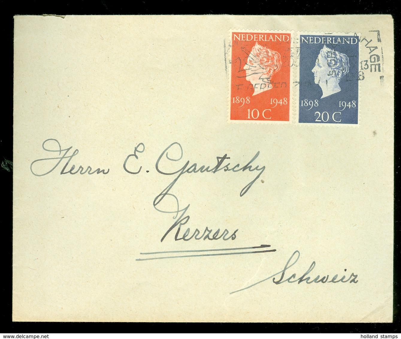 BRIEFOMSLAG Gelopen In 1948 Van WASSENAAR Naar KERZERS SCHWEIZ  (11.507b) - Periode 1891-1948 (Wilhelmina)